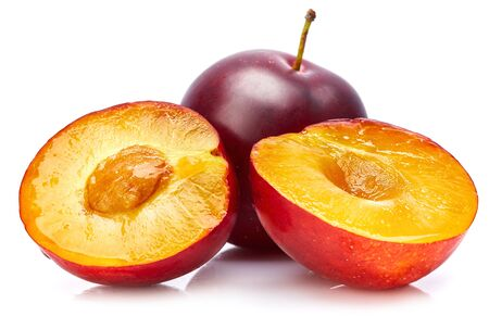 Fresh plum in cut. Fruity still life. Healthy food. Stockfoto - 128002037