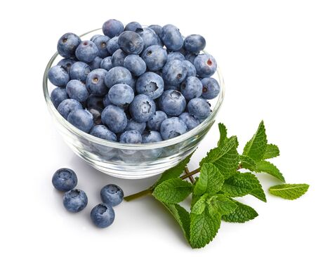 Berry blueberry with leaf mint close-up. Fruity still life for organic healthy food Stockfoto - 128001834
