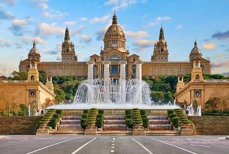 National Palace museum of Barcelona at Spanish Square with fountain at summer day. Stockfoto