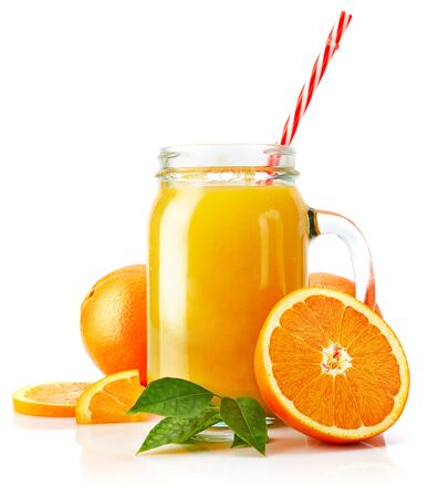 Fresh orange juice with fruit and green leaves in glass can straw wooden juicer stick