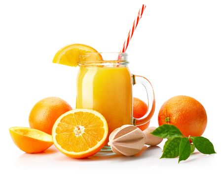 Fresh orange juice with fruit and green leaves in glass can straw wooden juicer stick, isolated on white