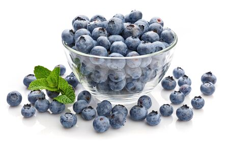 Berry blueberry with leaf mint close-up. Fruity still life for organic healthy food Stockfoto - 128001846