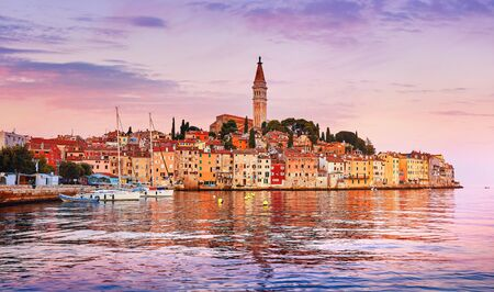 Rovinj Croatia. Sunrise sky above vintage town at Istria peninsula in Adriatic Sea.
