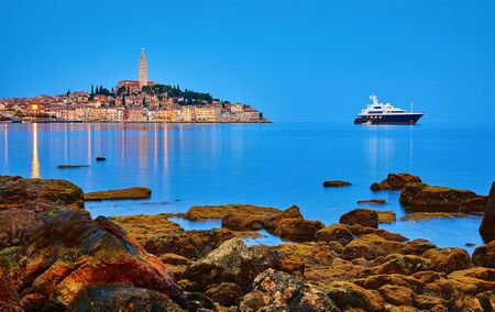 Rovinj, Istria, Croatia. Antique medieval old town at Adriatic sea.