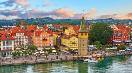 Lindau, Germany. Antique Bavarian town in Bavaria at coastline of Lake Constance (Bodensee).