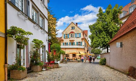 Cosy street in picturesque bavarian town Lindau at Lake Constance (Bodensee) in Germany.