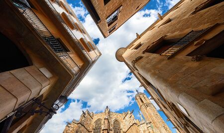 Medieval Barcelona Cathedral with tower. Stockfoto