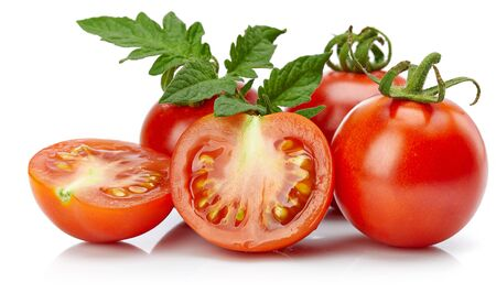 Tomato in cut with leaf for packaging and label. Still life harvest vegetable.