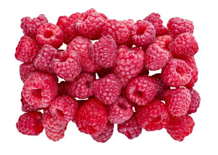Ripe Raspberries. Sweet fresh berries isolated on white background. Top view close up. Organic natural food for healthy eating. Ingredient for Food Packagion Design.