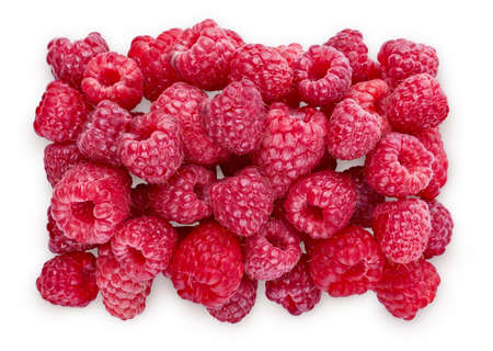 Ripe Raspberries. Sweet fresh berries isolated on white background with soft shadow. Top view close up. Organic natural food for healthy eating. Ingredient for Food Packagion Design.