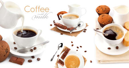 Collage mix set of cup of coffee with milk isolated on white background