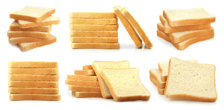 Collage mix set fresh cut bread isolated on the white background