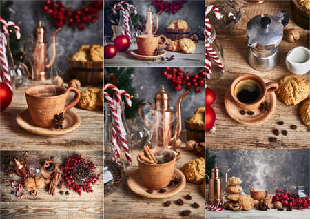 Collage mix set of Black coffee with cookies cinnamon and spice on old wooden board in rustic style, top view. Christmas composition with baking and hot drink in cup.