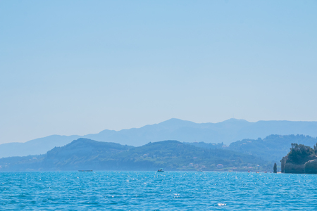 Beautiful sea landscapes on Island in Greece. Europe sea trip. Adventure vacation. Copy space.silhouette of the mountains