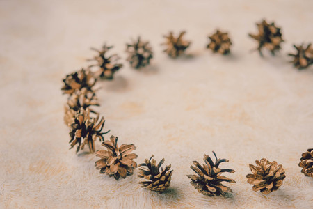 interior design, christmas, winter concept. Pine cones for decoration at modern house. Interior concept.Advent wreath, do it yourself, divers materials, decoration. Retro cozy background.Toned image.Copy spcae