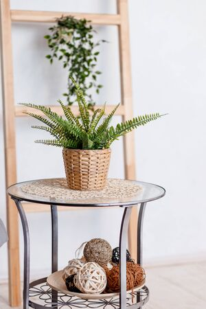 Mock up ,Stylish minimalistic white marble table workplace with supplies, house plant. copy space for product display montage.
