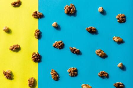 Isolated nuts pattern backdrop. Walnut, cashew, almond and hazelnut on colorful background. Top view.Flat lay composition of different nuts and nuts on yellow blue background.