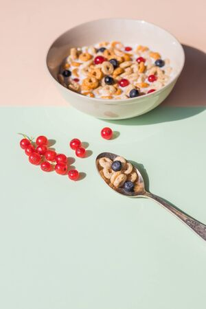 Bowl of oat cereal with blueberry,red currant and spoon.Oat ring cereal with berries and milk.concept of healthy breakfast, healthy eating. Flat lay, minimalism, top view. Place for text.