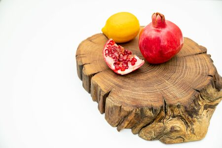 Group of various fruit consists half of tangerine, lemon. fresh fruit on wooden table, isolated wooden plank with space for copy, vitamin c from fruit. Healthy food, diet concept.