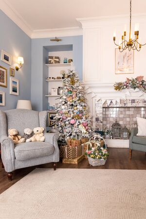 02.02.2019, Saint-Petersburg, Russia.beautiful modern design of the room in delicate light colors decorated with Christmas tree and decorative elements