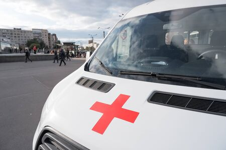 RUSSIA, MOSCOW - september 21, 2019.The ambulance Austrian Red Cross on the teachings of the Ministry of Emergency Situations of russia. the red cross on the white car of the ambulance, ambulance car. accident