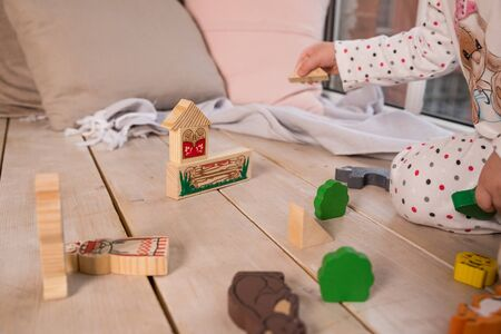 Tiny colorful wooden toy shapes and building blocks on hardwood floor.Girl play with a wooden set in their childrens room on the floor. colorful blocks on the floor.cute wooden toy animal , tiny toys