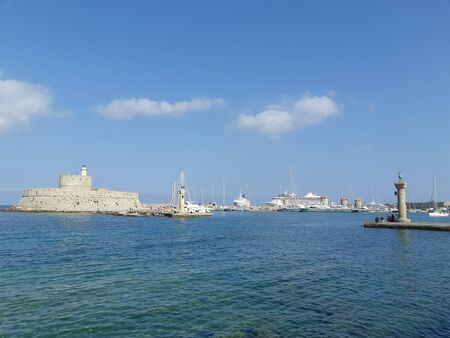 RHODES, GREECE, Old Venetian watch tower at old seaport of Rhodes island.