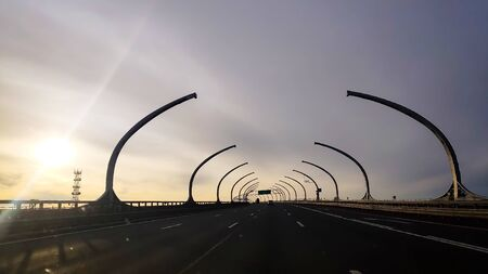 Western high-speed diameter ,ZSD, Central section. Cable-stayed bridge over Petrovsky fairway. Фото со стока