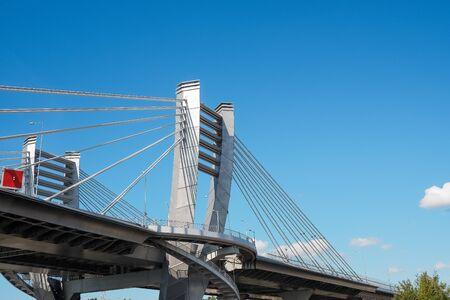 Part of metal bridge construction. Copy space Фото со стока