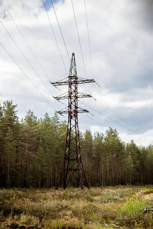 Industrial landscape with high voltage electricity pylons in a field in front of a forest on cloudy day.Electricity Pilon in the Countryside on Spring Banque d'images