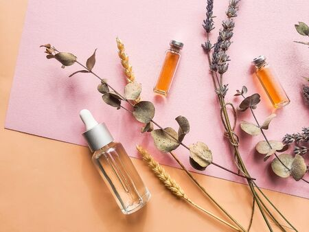 Natural cosmetics with lavender and orange, lemon for homemade spa on white background top view mock up. Banque d'images