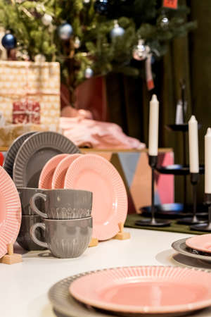 New gray, pink table setting . modern style. Serving for store catalog. Hot drinks tea or coffee. Stylish elegant ceramic dishware on shop shelves,Various kitchen utensils.Tender, pastel color Stock fotó - 157779177