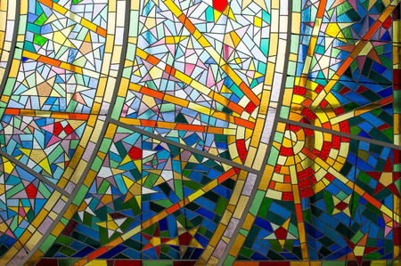mosaic: Detail of a part of a modern glass colorful mosaic.