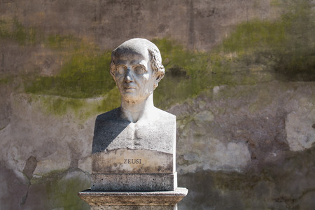 busts: In a park on a hill above city center of Rome, there are many statues - busts of important personalities. One of them is bust of antique greek painter.