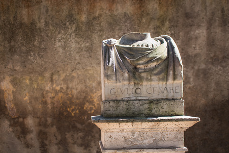 busts: In a city center of Rome, there are many statues - busts of important personalities. Broken bust of Giulio Cesare, roman statesman, general and notable author of Latin prose. Editorial