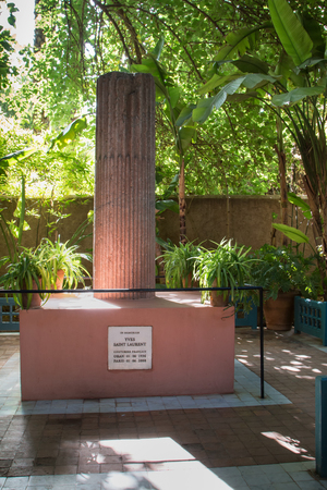laurent: Enlightened memomorial of Yves Saint Laurent in the botanical garden. Marrakesh, Morocco.