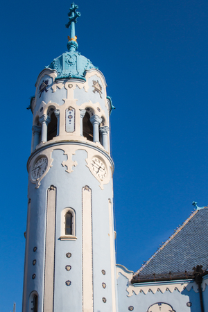 art of building: Art noveau style of Blue Church in Bratislava. Matching blue sky.