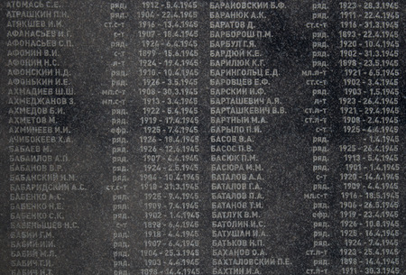 liberating: List of names of the soldiers, who perished while liberating Bratislava during the World War II. Names and dates in a marble board.