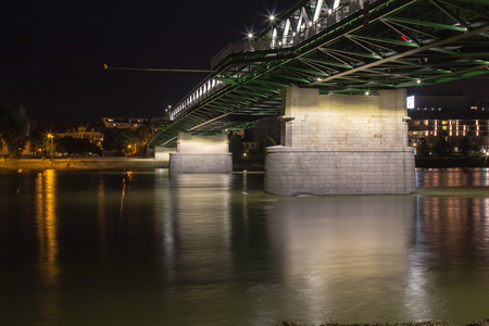 renewed: Night view on the new opened and renewed Old Bridge across river Danube in Bratislava, Slovakia. Stock Photo