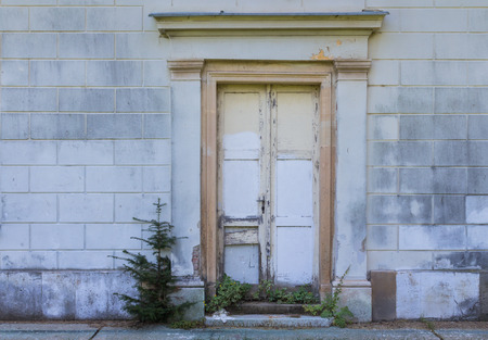 newer: Entrance to a house with non fitting newer door, which are not original. Grey wall. Conifer growing beside the door. Probably Christmas memory.