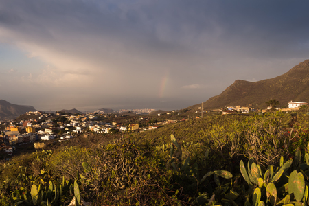 Aerial view on the nature in the south of the island. Madow with vegetation and opuntia cactuses. City and Atlantic ocean. Little part of a rainbow. Cloudy sky. Tenerife, Canary Islands, Spain.