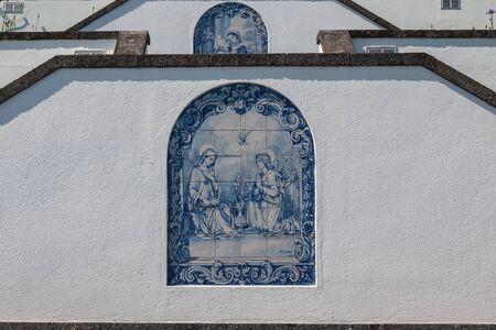 Hermitage (Ermitage de Nossa Senhora da Paz). White facade of the stairs with traditonal ceramics with blue painting (azulejos). Vila Franca do Campo, Sao Miguel, Azores Islands, Portugal. 写真素材