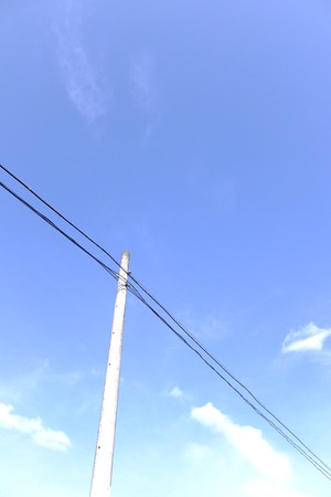 telephone poles: Wires and telephone poles Stock Photo