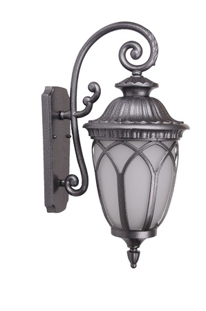 metall lamp: Street sconce on white background