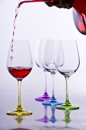 Wine glases with decanter and red wine