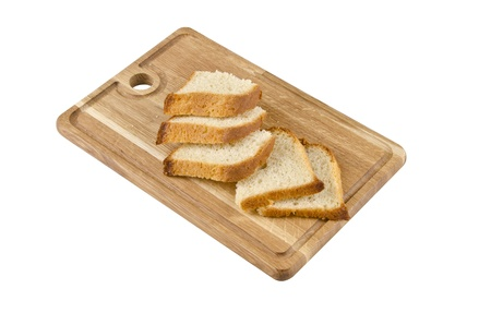 Cutting board isolated with bread on white background