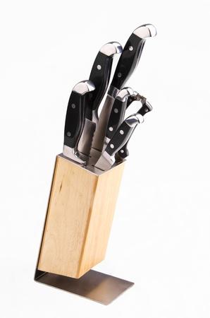 Knife set on white background