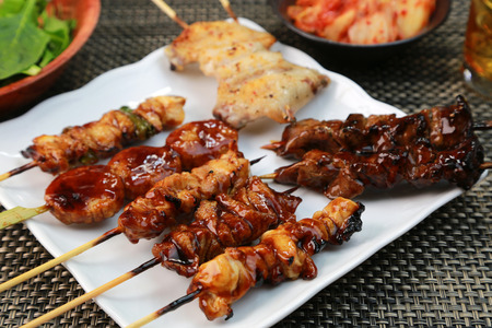barbecued: Barbecued chicken  Yakitori  Japanese food
