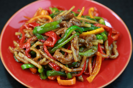chinese food: Blue pepper meat