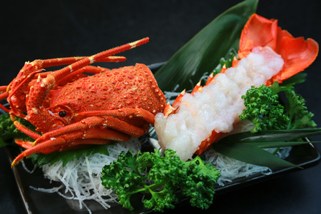 raw lobster: Japanese food  Sashimi of the lobster Stock Photo